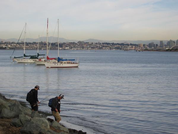 Two fishermen enjoy their day on Shelter Island.
