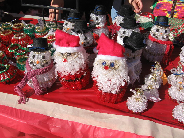 These fun but sadly inanimate Santas are made of beads!