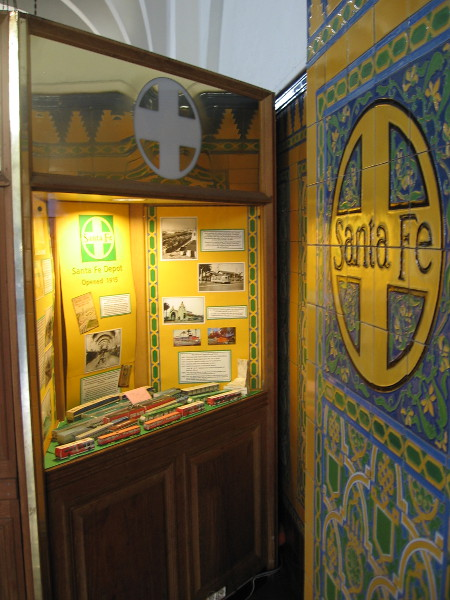 In a nook right next to the depot's wall, beside colorful Santa Fe tilework, one can discover more fascinating information.