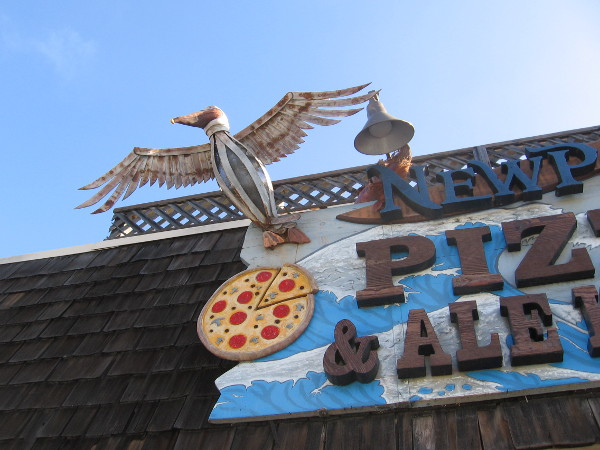 A pelican, pizza and ale.
