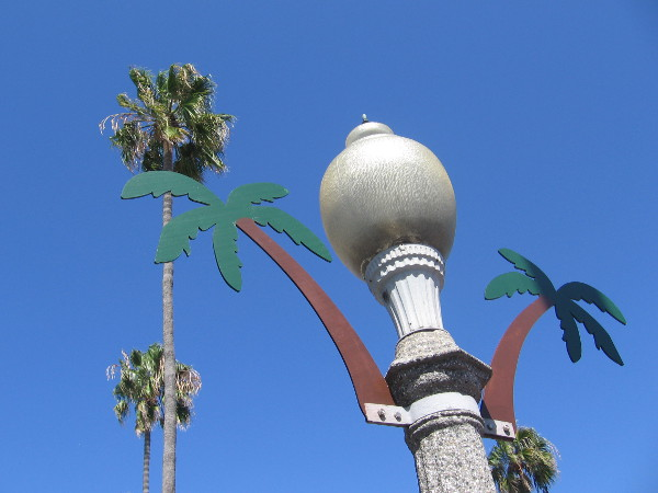 Street lamp on Newport Avenue features palm trees.
