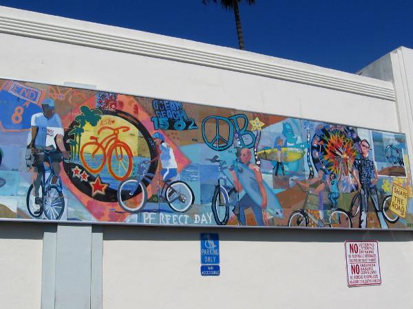 Ocean Beach community mural features bicycles.
