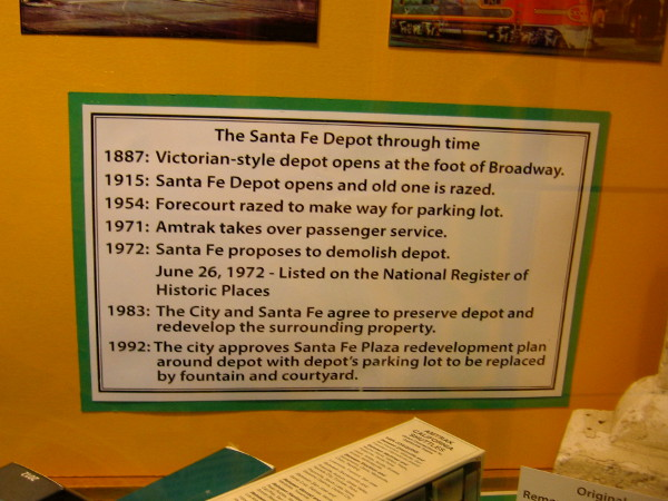 Graphic shows important dates concerning the Santa Fe Depot. The 1887 Victorian-style depot was razed in 1915 after the new depot opened in time for the Panama-California Exposition in Balboa Park.