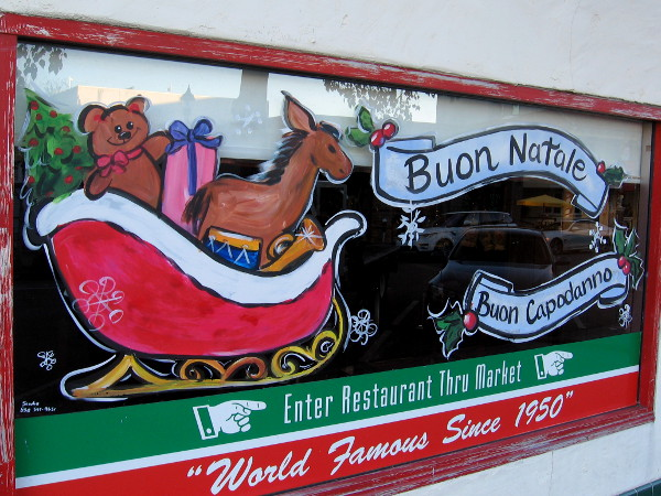 Apparently Santa left his sleigh and went into Filippi's Pizza Grotto to get another pizza.