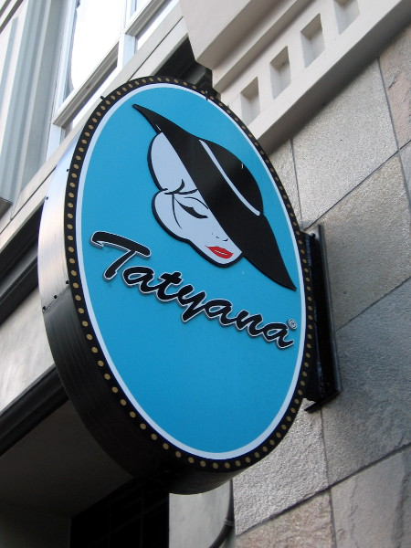 A stylish Tatyana on a Gaslamp shop's sign.