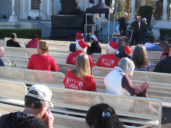 Multiple possible Santas! Oh, wait. They all are cloggers, waiting to perform at December Nights. Santa only clogs chimneys.