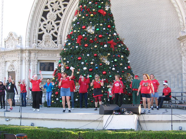 I might not spot the actual real Santa, but this December Nights is rather fun. These folks are singing their hearts out in front of the big Spreckels Organ Pavilion Christmas tree. When the lights come on at night, Balboa Park becomes a magical wonderland!