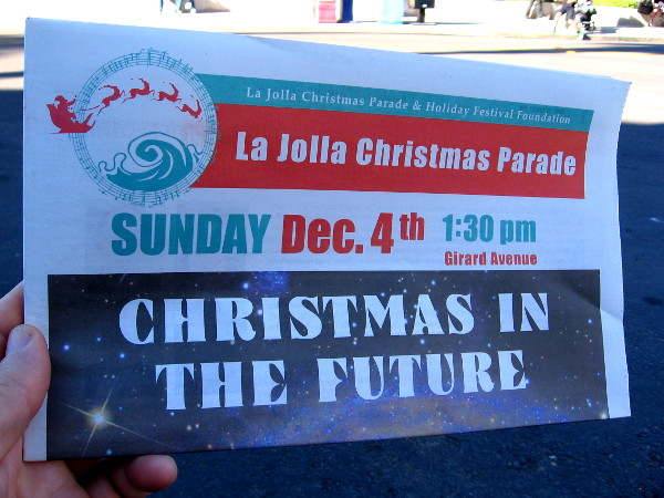 In 2016, the theme of the La Jolla Christmas Parade was Christmas in the Future. A special newspaper was printed up for the event by the La Jolla Village News.