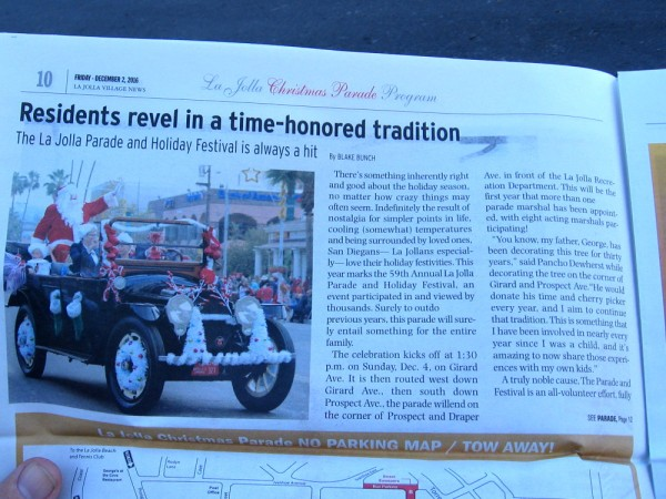 Residents revel in a time-honored tradition. 2016 is the 59th year of the La Jolla Annual Christmas Parade!