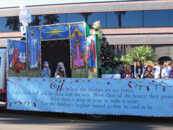 The Stella Maris Academy won Best Overall award. Their float featured an astronaut, a Christmas nativity scene and music lyrics. We believe the children are our future...