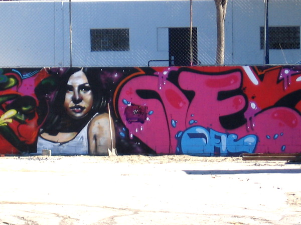 Female face spray painted on a wall.