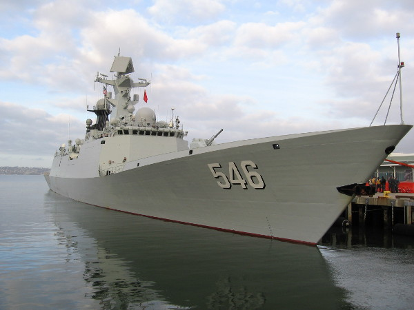 Another photo of the Chinese frigate Yancheng, docked in San Diego Bay on December 6, 2016.