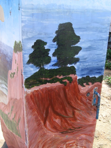 The fourth side of the box shows the natural beauty along the coast of La Jolla. Pine trees rise atop eroded sandstone cliffs.