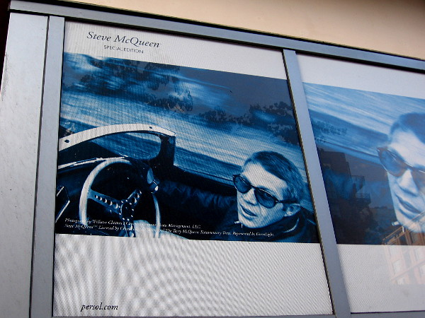 Very cool! It's Steve McQueen sporting some shades. An image above the windows of Eyes On Fifth.