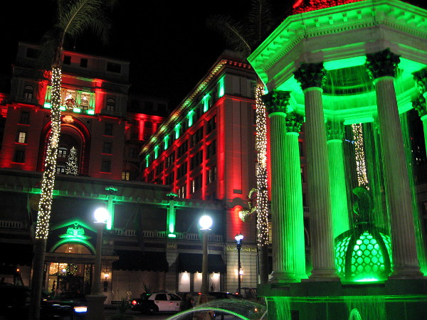 The Broadway Fountain and U.S. Grant Hotel put on a cheerful show of Christmas lights in San Diego.