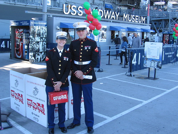 San Diego Marines collect toys for the less fortunate, to be distributed by charitable organizations during Christmas.
