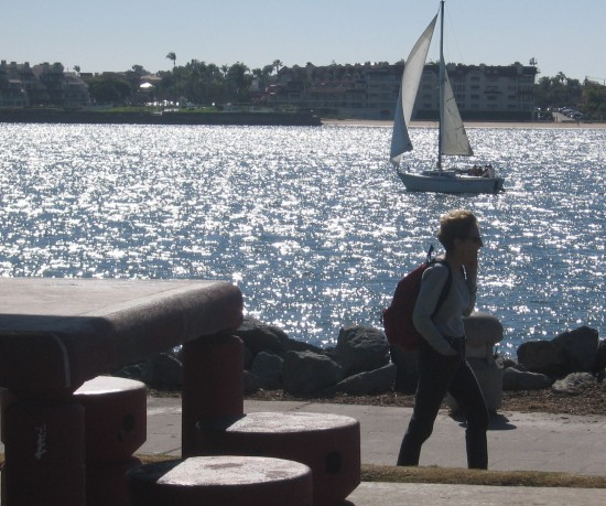 Picnic benches at Embarcadero Marina Park North offer views of sparkling San Diego Bay.