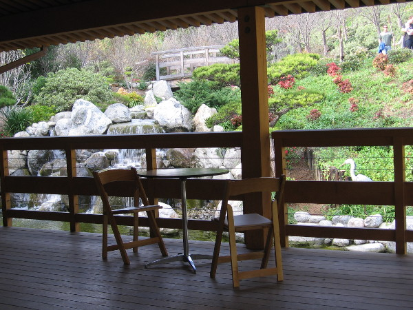 Several tables are usually open on the deck of the Inamori Pavilion at the Japanese Friendship Garden.