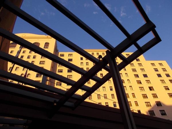 Golden morning light near Horton Plaza creates a cool sight in downtown San Diego.