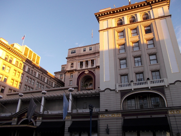 The historic U.S. Grant Hotel with splashes of morning light.