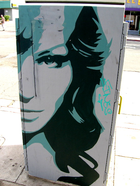 Cool female face on one side of a utility box on 30th Street in North Park.