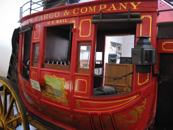 Stagecoach on display at the Wells Fargo History Museum in Old Town San Diego State Historic Park.