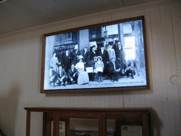 Old photo on video screen shows the Wells, Fargo and Co's Express Office in downtown San Diego, in 1911.