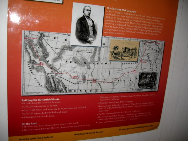 Map shows the historic Butterfield Overland Mail Route. Wells Fargo's experience in Western transportation led it to finance and eventually run the Butterfield stage line's operations in the west.