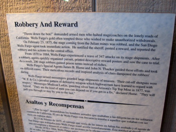 On February 23, 1875, the stage coming from the Julian mines was robbed, and the San Diego agent took action. He immediately notified the sheriff, posted a reward, and reported the robbery and his actions to the central office.