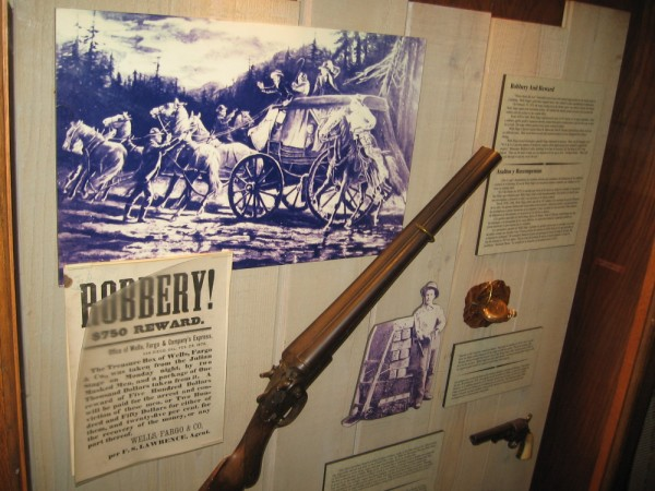 Cool display inside the Wells Fargo History Museum in Old Town San Diego shows how stagecoaches and their cargo was protected from bandits.