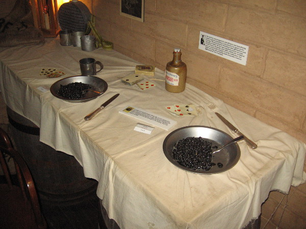 Table in the stage station used for rest, serving food and games of cards.