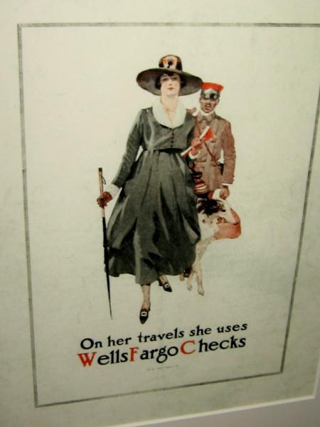 On her travels she uses Wells Fargo Checks.