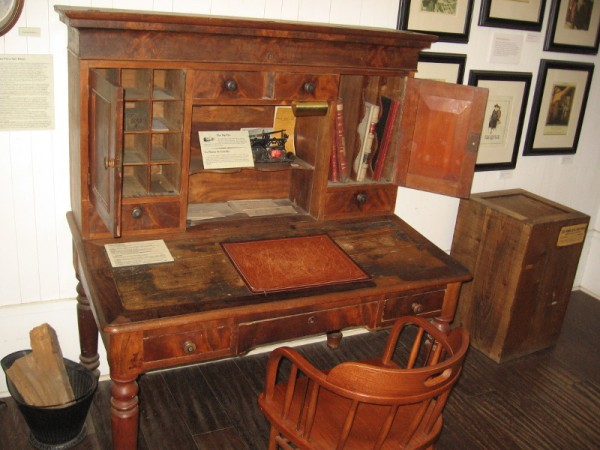 Antique desk used by a Wells Fargo agent.