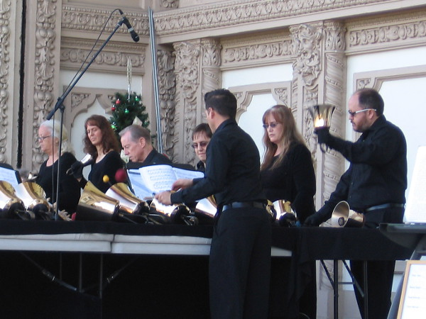 The San Diego Harmony Ringers conjure bright, cheerful music in Balboa Park.