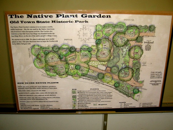 Plans of the Native Plant Garden in Old Town State Historic Park. Included are species used by the Native American Kumeyaay for food, shelter and medicine. Their village Cosoy was located here.
