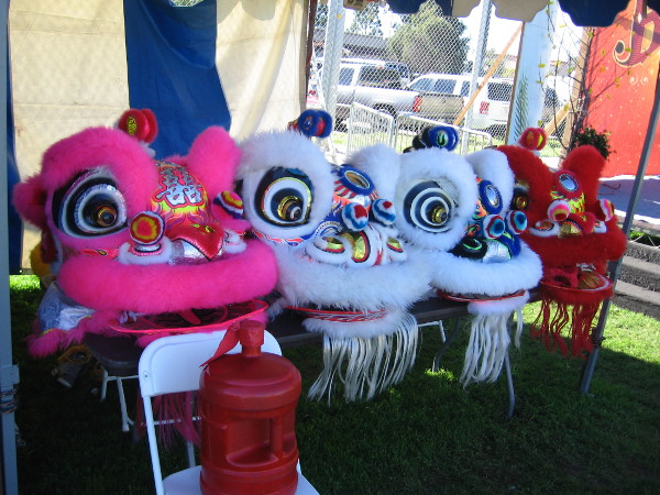Colorful lion heads in a row. It's the Year of the Rooster and many throughout the world are celebrating!