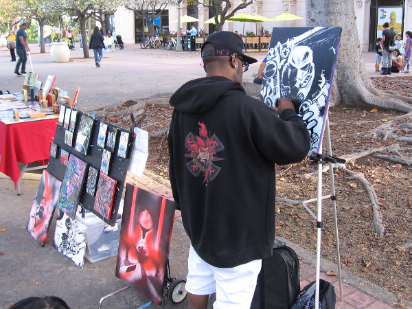Vernell Jones III, also known as Machinecore, creates a very cool, completely new Star Wars character in Balboa Park.