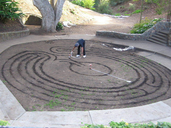 Creating a labyrinth in Balboa Park's Zoro Garden. This gentleman created a similar labyrinth which I photographed near the Botanical Building some time ago. If he mentioned his name, I apologize for forgetting and not writing it down.
