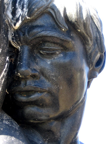 The sleepy face of Morning, a black diorite sculpture by internationally renowned San Diego artist Donal Hord.