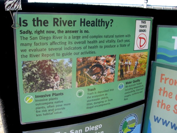 Sadly, the river isn't healthy. A grade is assigned each year based upon trash, water quality and the extent of invasive plants.