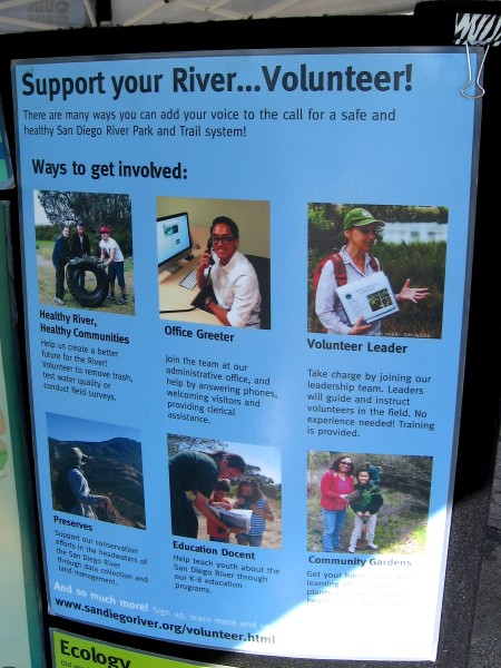 Sign shows volunteering possibilities. (Click these sign images to read--they will enlarge.)