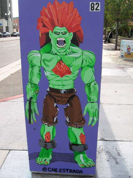 Blanka of Capcom's Street Fighter video games. Fun street art in National City.