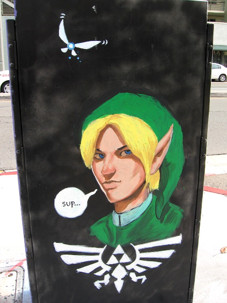 Street art depicts Link of The Legend of Zelda video game series.