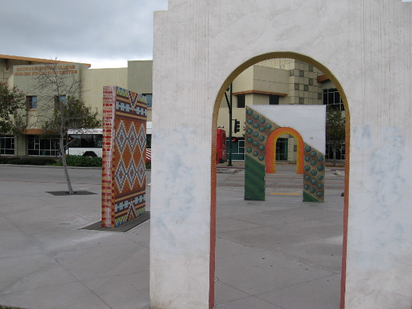 Another photo through the arches. The Southwestern College Higher Education Center stands across National City Boulevard.