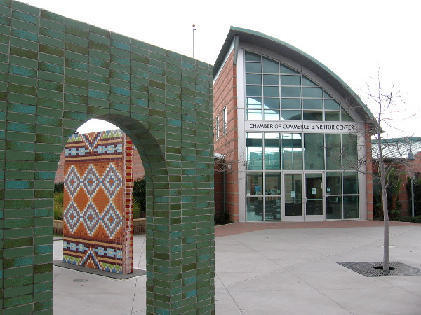 The National City Chamber of Commerce and Visitor Center is located near the public art arches.