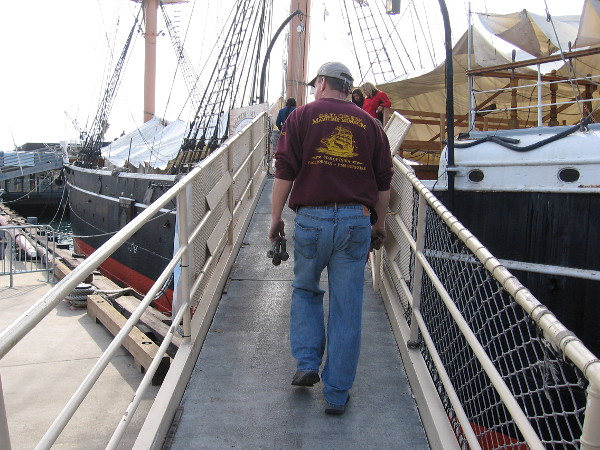 One benefit of being a member of the Maritime Museum of San Diego--I could watch the parade from atop one of the world's most famous tall ships--the Star of India!