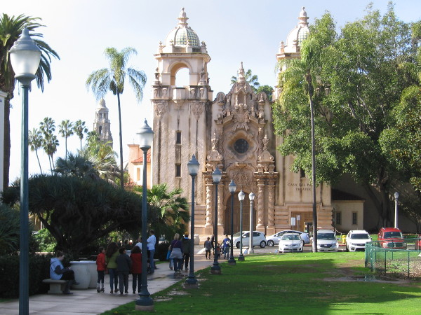 Walking toward the Casa del Prado, between the huge Moreton Bay Fig and the San Diego Natural History Museum.