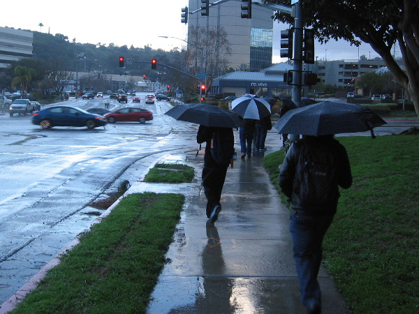 It's a rainy morning. San Diegans walk through Mission Valley to work and to school.