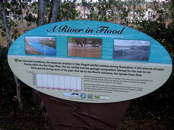 Sign by the San Diego River. The low rainfall and the geologic composition historically allowed the river to run below ground much of the year, hence the nickname--the Upside Down River.