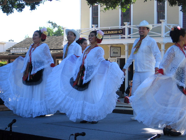 Some colorful, joyful Mexican folklorico dancing on stage in Old Town San Diego!